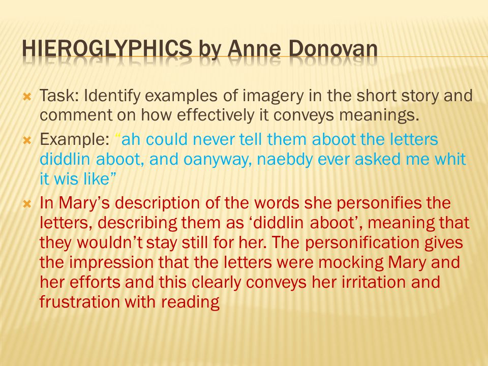  Task: Identify examples of imagery in the short story and comment on how effectively it conveys meanings.