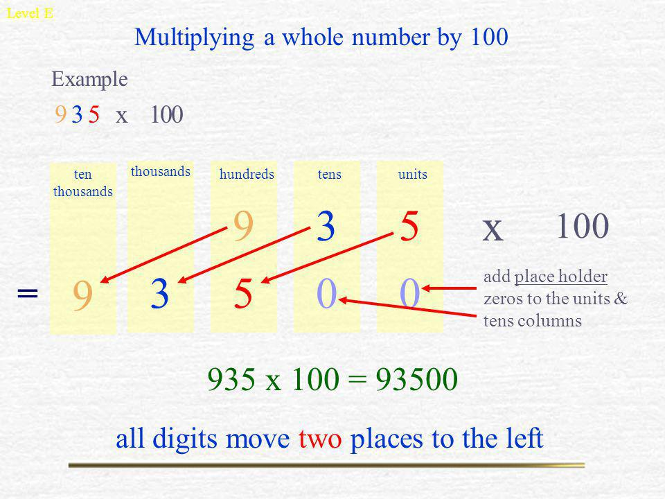 Multiply & Divide by 10, 100, 1000 Level E Decimals DiscoveringTime Sunday, 30 August 2009 To multiply a decimal number by 1000, Simply move all digit