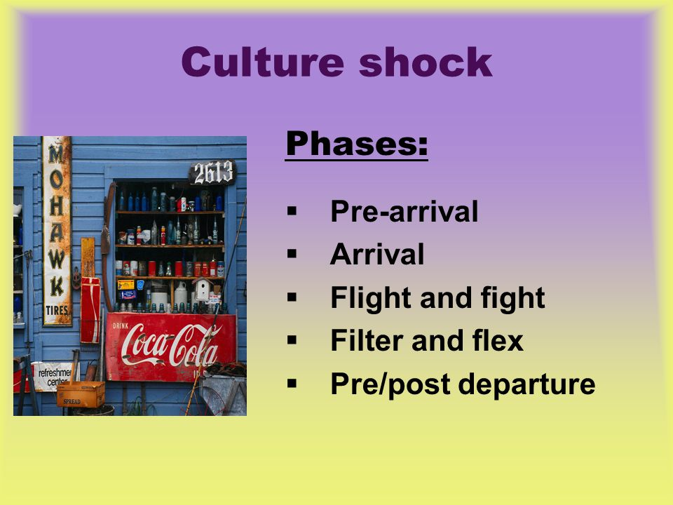 Culture shock Phases:  Pre-arrival  Arrival  Flight and fight  Filter and flex  Pre/post departure