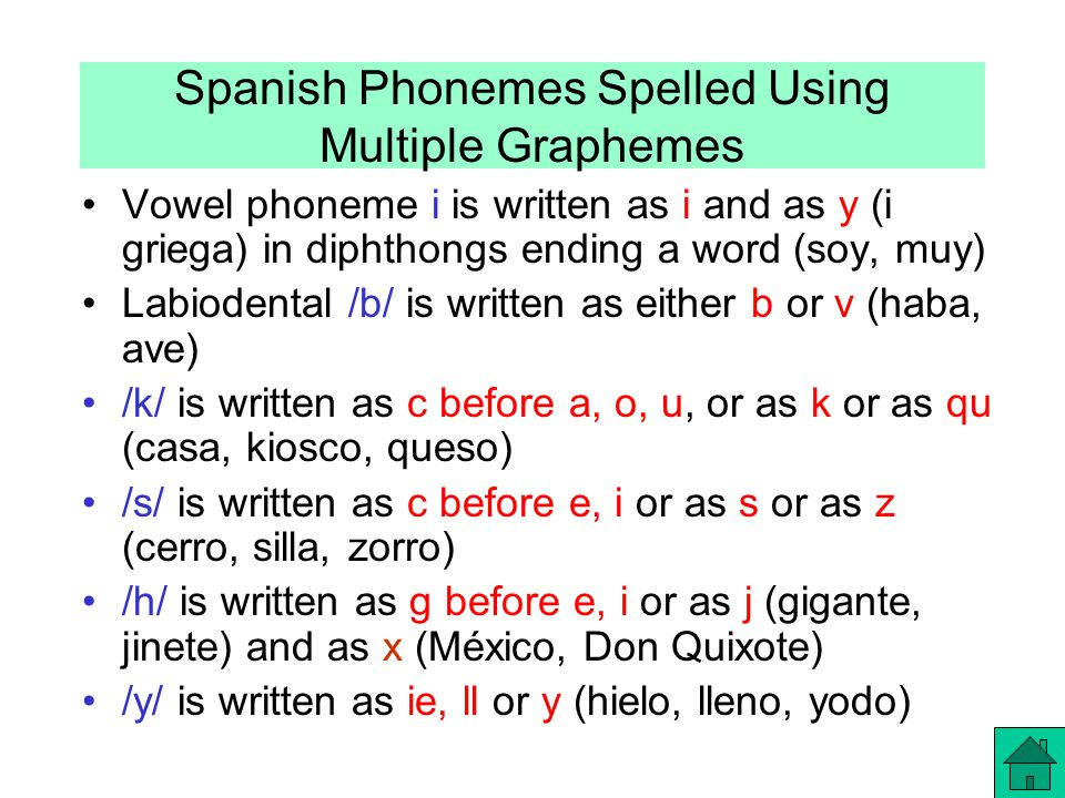 Spanish Phonemes Spelled Using Multiple Graphemes Vowel phoneme i is written as i and as y (i griega) in diphthongs ending a word (soy, muy) Labiodental /b/ is written as either b or v (haba, ave) /k/ is written as c before a, o, u, or as k or as qu (casa, kiosco, queso) /s/ is written as c before e, i or as s or as z (cerro, silla, zorro) /h/ is written as g before e, i or as j (gigante, jinete) and as x (México, Don Quixote) /y/ is written as ie, ll or y (hielo, lleno, yodo)