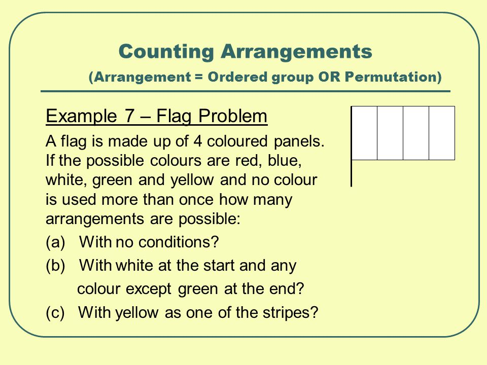 Counting Arrangements (Arrangement = Ordered group OR Permutation) Example 7 – Flag Problem A flag is made up of 4 coloured panels. If the possible co