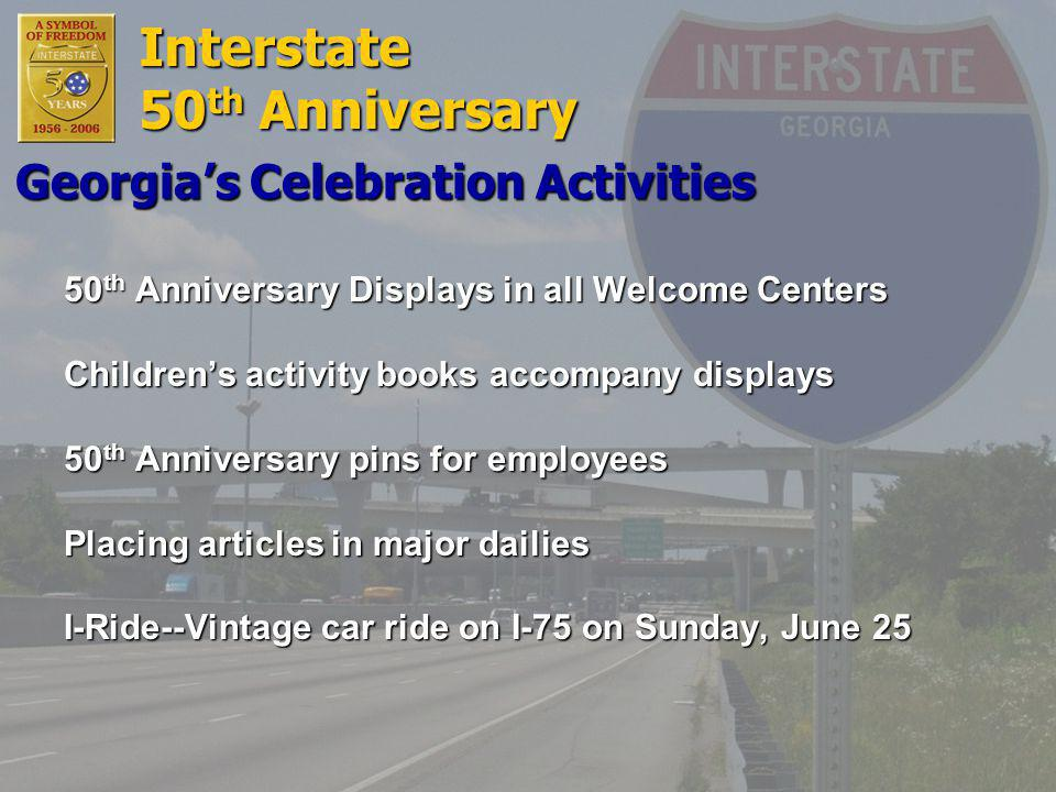 Interstate 50 th Anniversary Displays in all Welcome Centers Children's activity books accompany displays 50 th Anniversary pins for employees Placing articles in major dailies I-Ride--Vintage car ride on I-75 on Sunday, June 25 Georgia's Celebration Activities