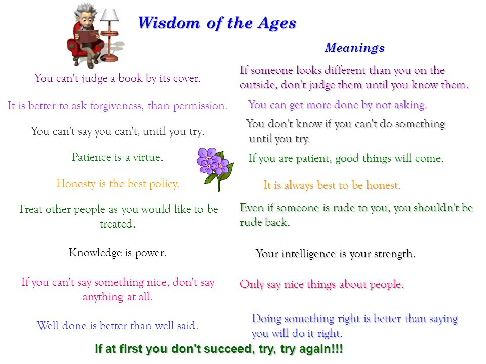 Wisdom of the Ages Meanings You can t judge a book by its cover.