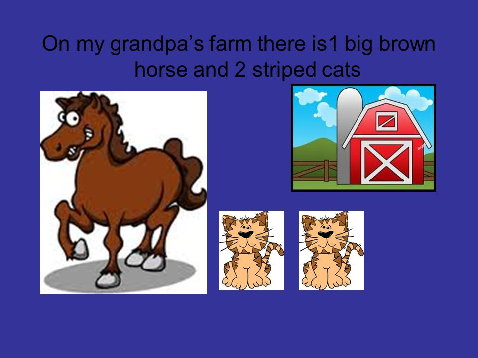 On my grandpa's farm there is1 big brown horse and 2 striped cats