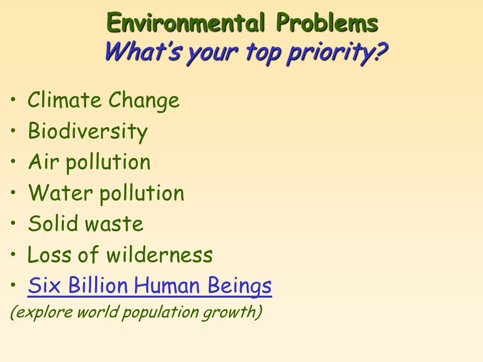 Environmental Problems What's your top priority.