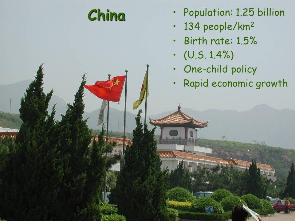 China Population: 1.25 billion 134 people/km 2 Birth rate: 1.5% (U.S.