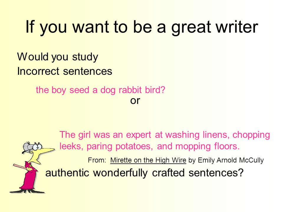 If you want to be a great writer Would you study Incorrect sentences or authentic wonderfully crafted sentences? The girl was an expert at washing lin