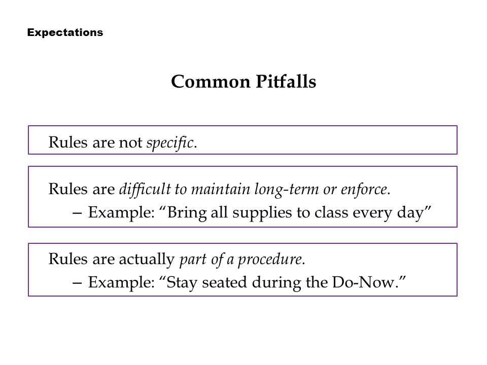 Common Pitfalls Rules are not specific. Rules are difficult to maintain long-term or enforce.