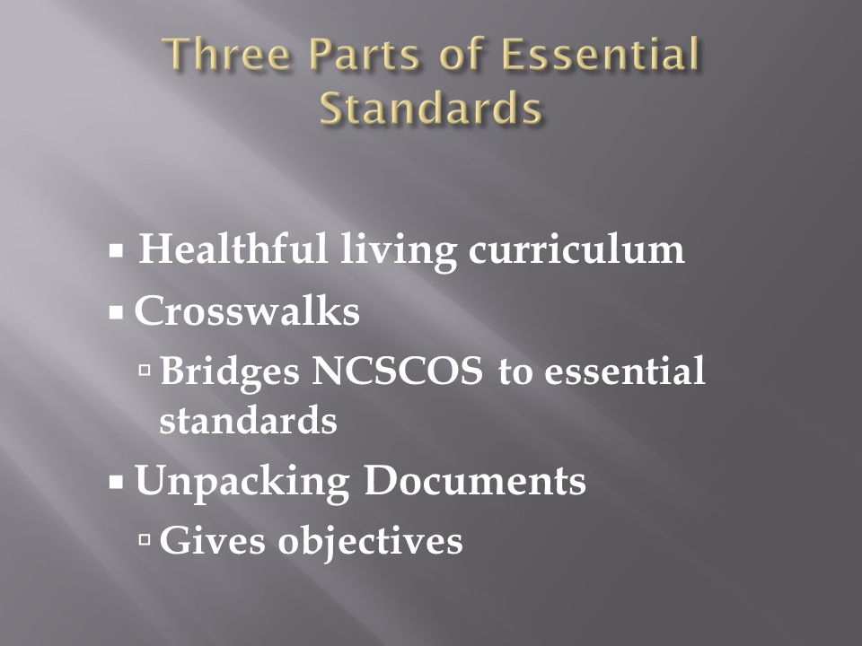  Healthful living curriculum  Crosswalks  Bridges NCSCOS to essential standards  Unpacking Documents  Gives objectives