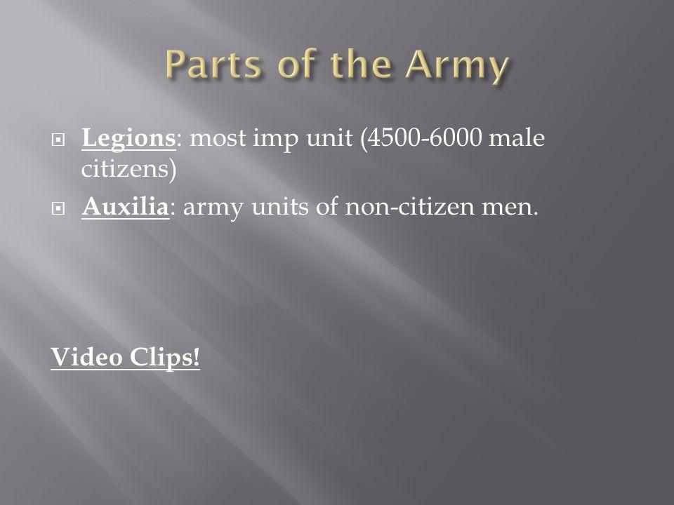  Legions : most imp unit (4500-6000 male citizens)  Auxilia : army units of non-citizen men. Video Clips!