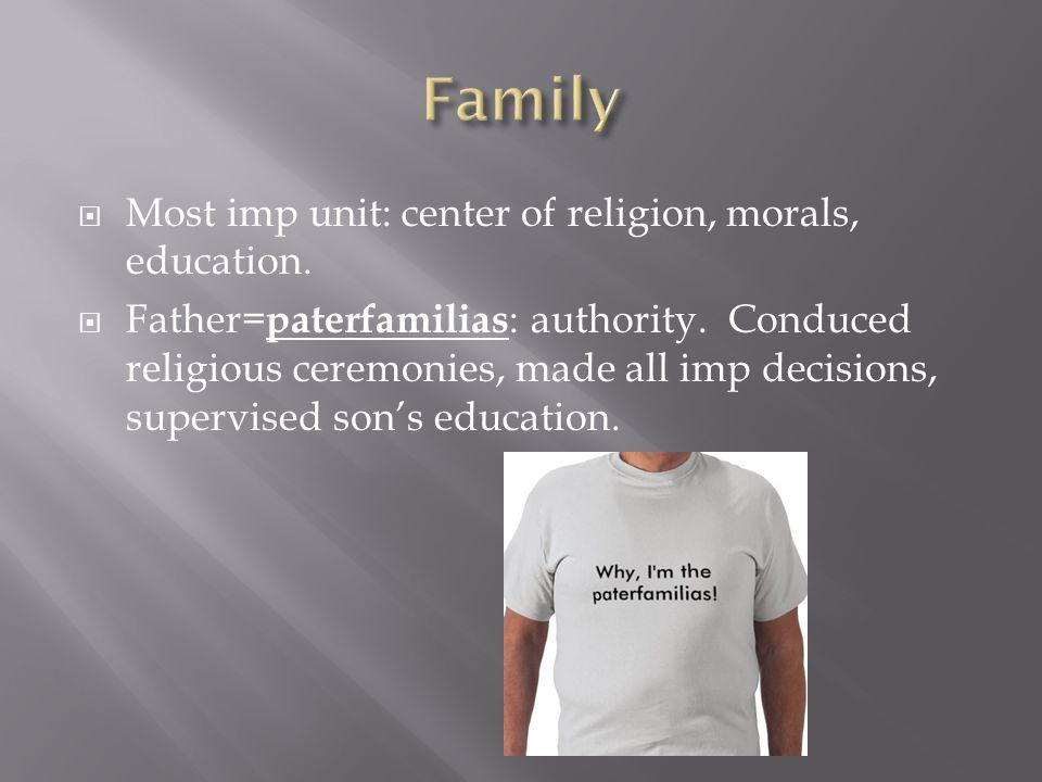 Most imp unit: center of religion, morals, education.  Father= paterfamilias : authority. Conduced religious ceremonies, made all imp decisions, su