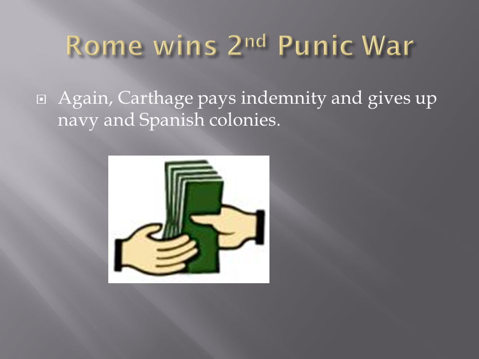  Again, Carthage pays indemnity and gives up navy and Spanish colonies.
