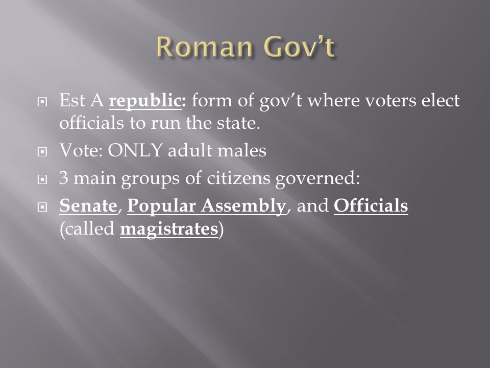  Est A republic: form of gov't where voters elect officials to run the state.  Vote: ONLY adult males  3 main groups of citizens governed:  Senate