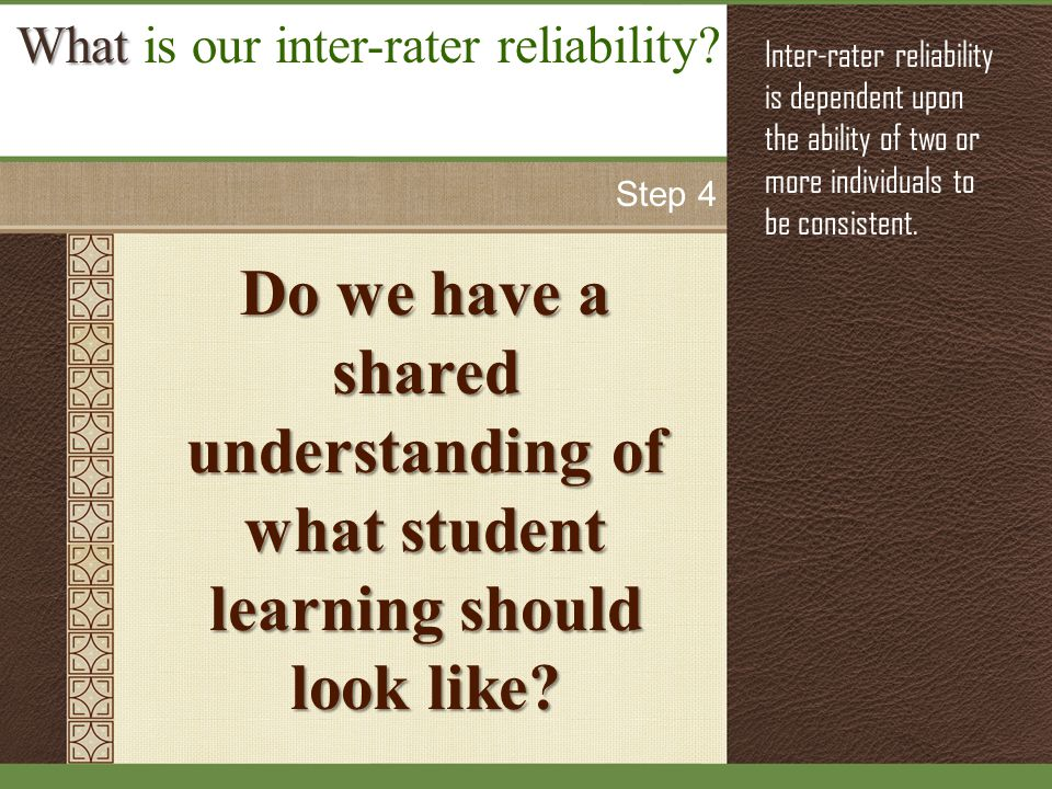 Do we have a shared understanding of what student learning should look like.