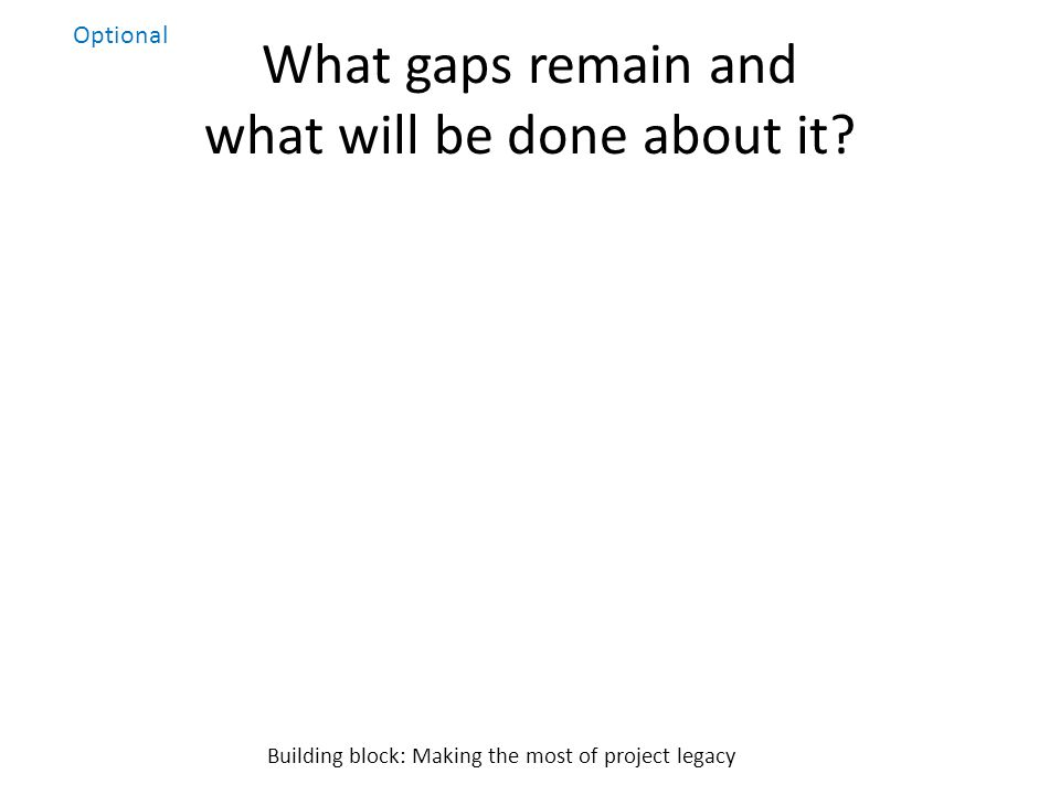 What gaps remain and what will be done about it.
