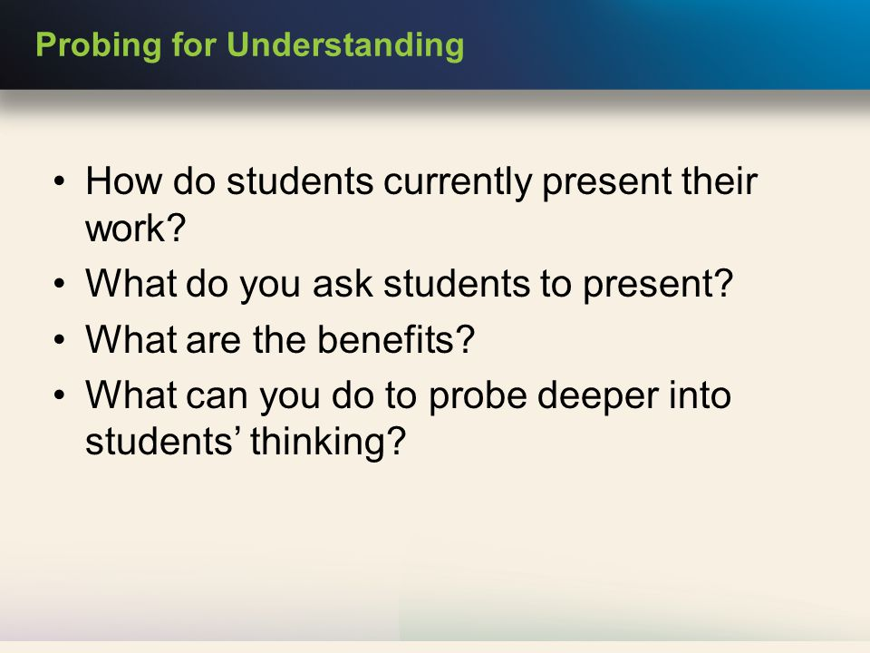 How do students currently present their work. What do you ask students to present.