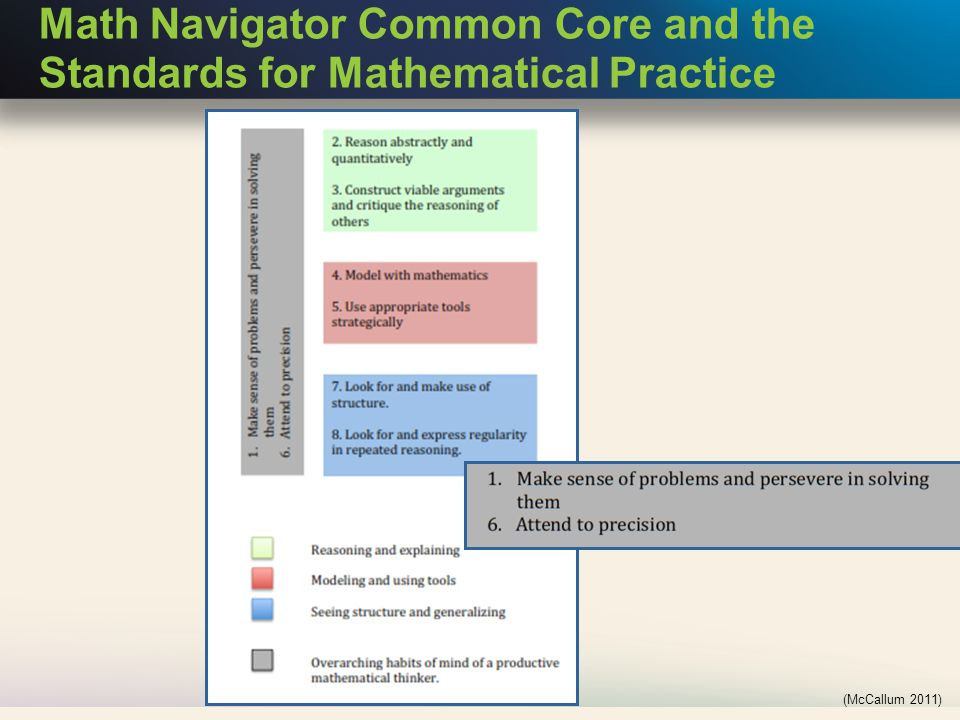 Math Navigator Common Core and the Standards for Mathematical Practice (McCallum 2011)