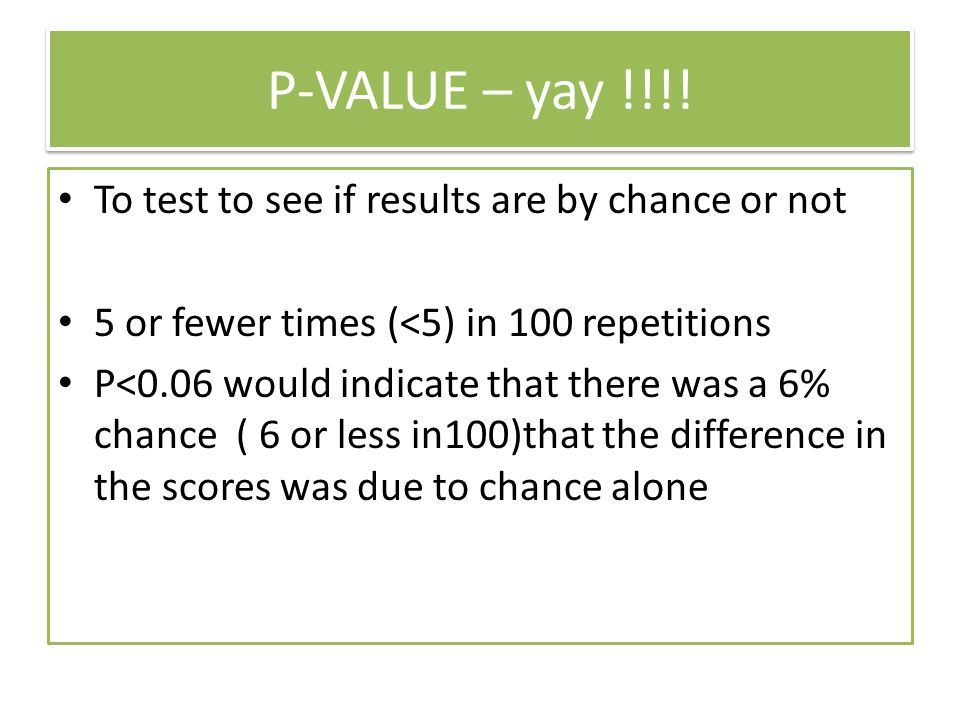 P-VALUE – yay !!!! To test to see if results are by chance or not 5 or fewer times (<5) in 100 repetitions P<0.06 would indicate that there was a 6% c