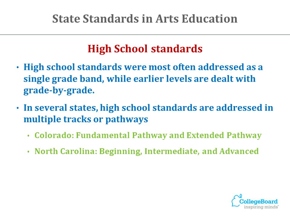 High School standards High school standards were most often addressed as a single grade band, while earlier levels are dealt with grade-by-grade.