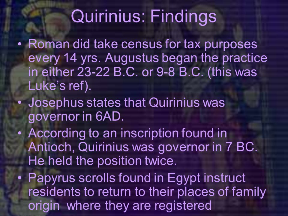 Quirinius: Findings Roman did take census for tax purposes every 14 yrs.