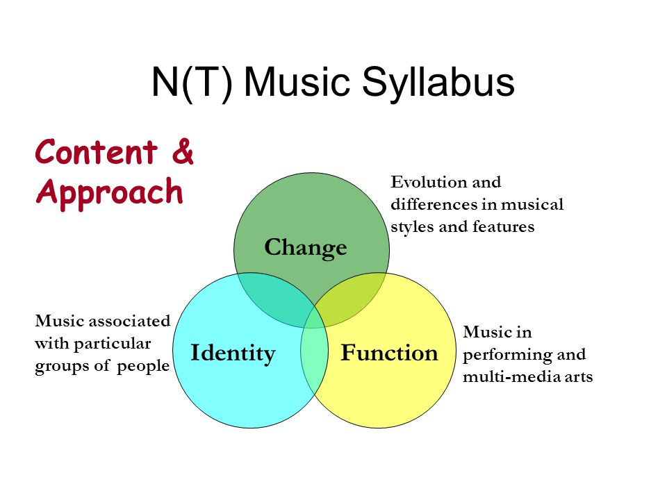 N(T) Music Syllabus Change FunctionIdentity Evolution and differences in musical styles and features Music associated with particular groups of people