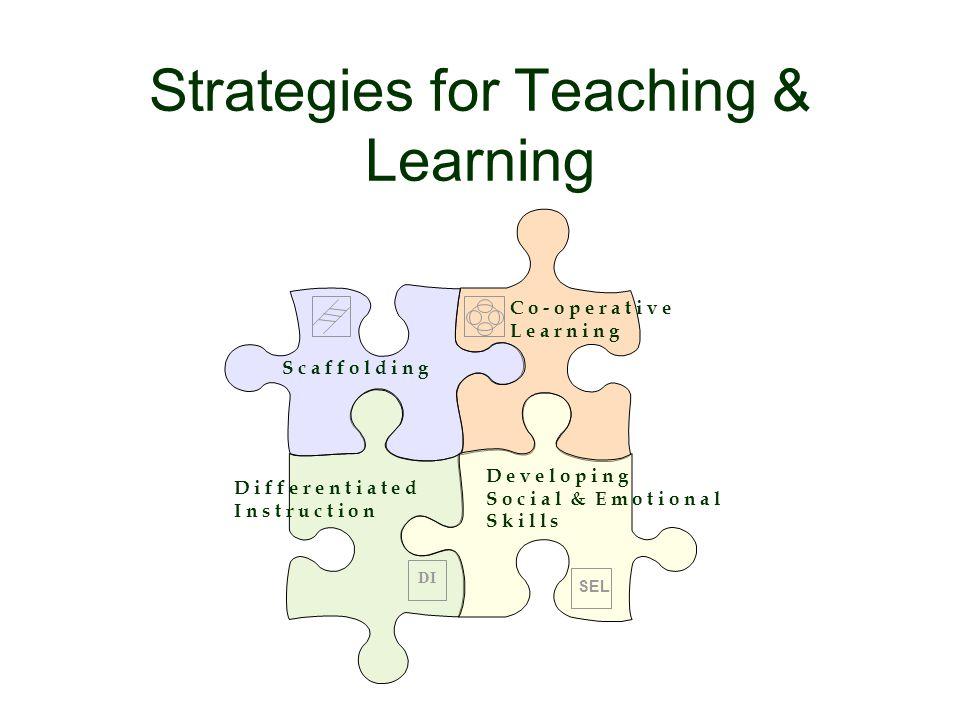 Strategies for Teaching & Learning S c a f f o l d i n g D i f f e r e n t i a t e d I n s t r u c t i o n C o - o p e r a t i v e L e a r n i n g D e v e l o p i n g S o c i a l & E m o t i o n a l S k i l l s DI SEL