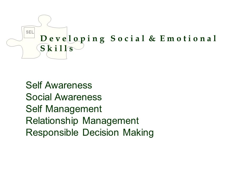 D e v e l o p i n g S o c i a l & E m o t i o n a l S k i l l s Self Awareness Social Awareness Self Management Relationship Management Responsible De