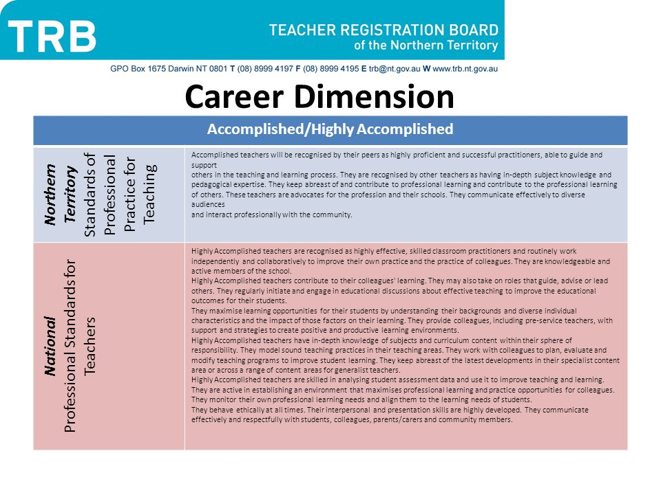 Career Dimension Accomplished/Highly Accomplished Northern Territory Standards of Professional Practice for Teaching Accomplished teachers will be recognised by their peers as highly proficient and successful practitioners, able to guide and support others in the teaching and learning process.