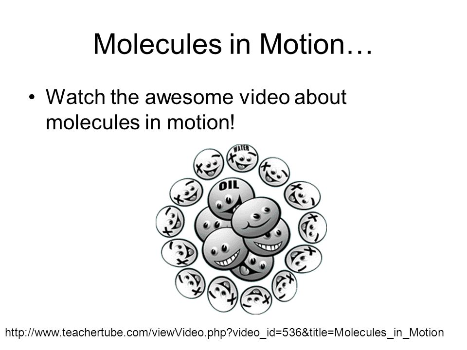 Molecules in Motion… Watch the awesome video about molecules in motion.