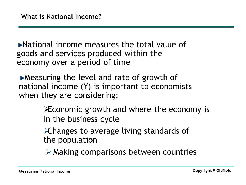 Measuring National Income Copyright P Oldfield What is National Income?  Making comparisons between countries National income measures the total valu