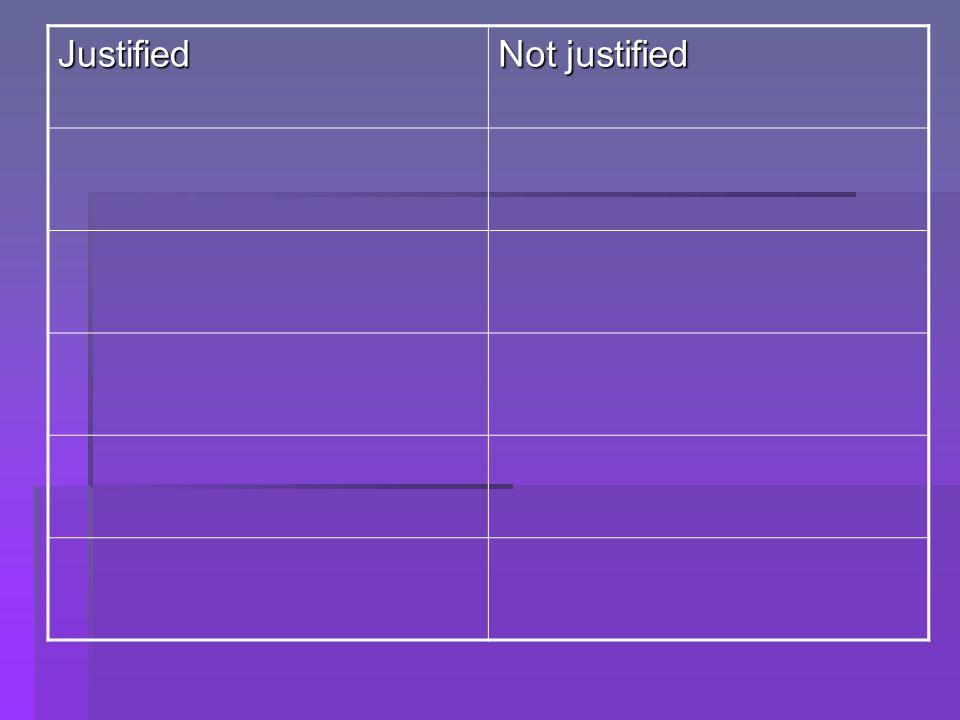 Justified Not justified