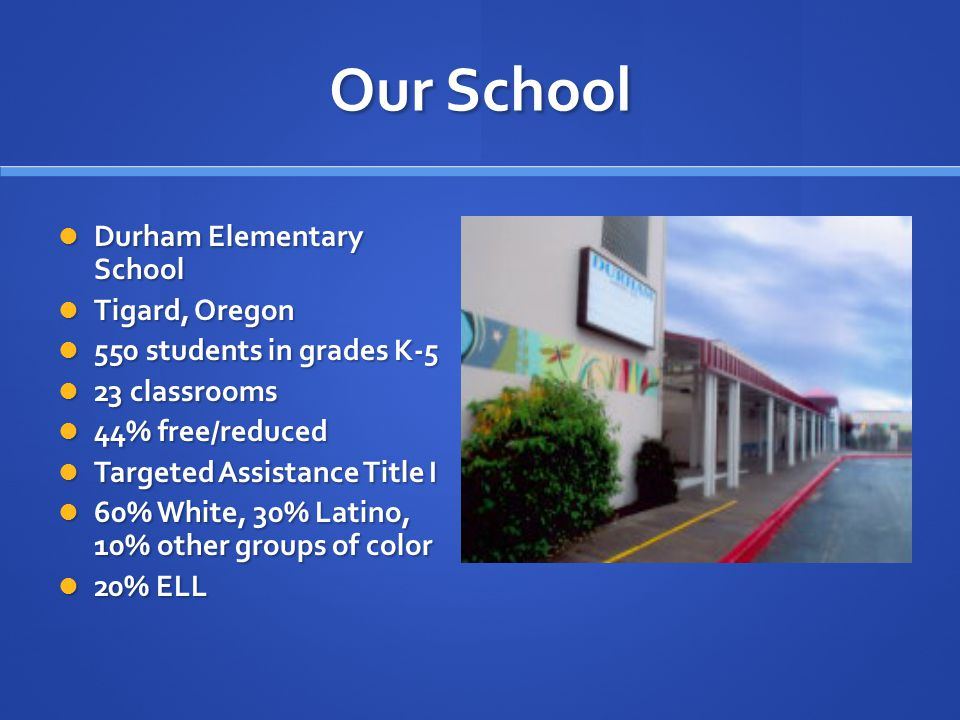 Our School Durham Elementary School Durham Elementary School Tigard, Oregon Tigard, Oregon 550 students in grades K-5 550 students in grades K-5 23 classrooms 23 classrooms 44% free/reduced 44% free/reduced Targeted Assistance Title I Targeted Assistance Title I 60% White, 30% Latino, 10% other groups of color 60% White, 30% Latino, 10% other groups of color 20% ELL 20% ELL