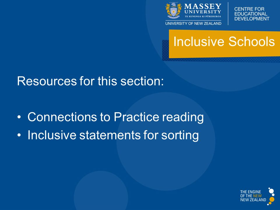 Resources for this section: Connections to Practice reading Inclusive statements for sorting Inclusive Schools