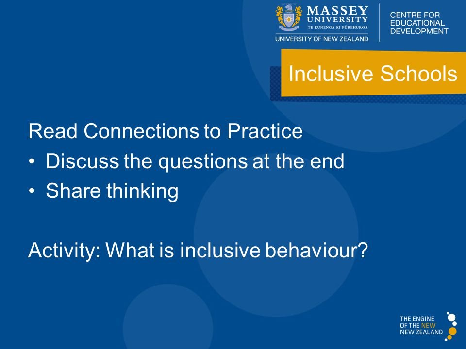 Read Connections to Practice Discuss the questions at the end Share thinking Activity: What is inclusive behaviour