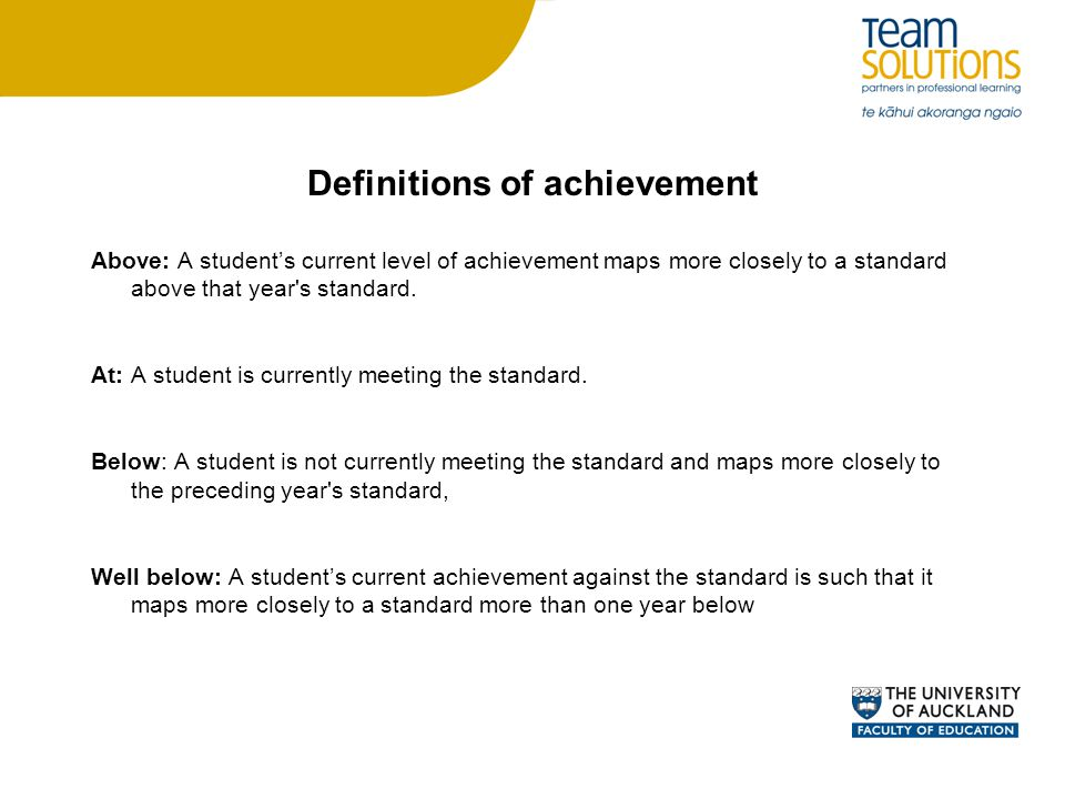 Definitions of achievement Above: A student's current level of achievement maps more closely to a standard above that year s standard.