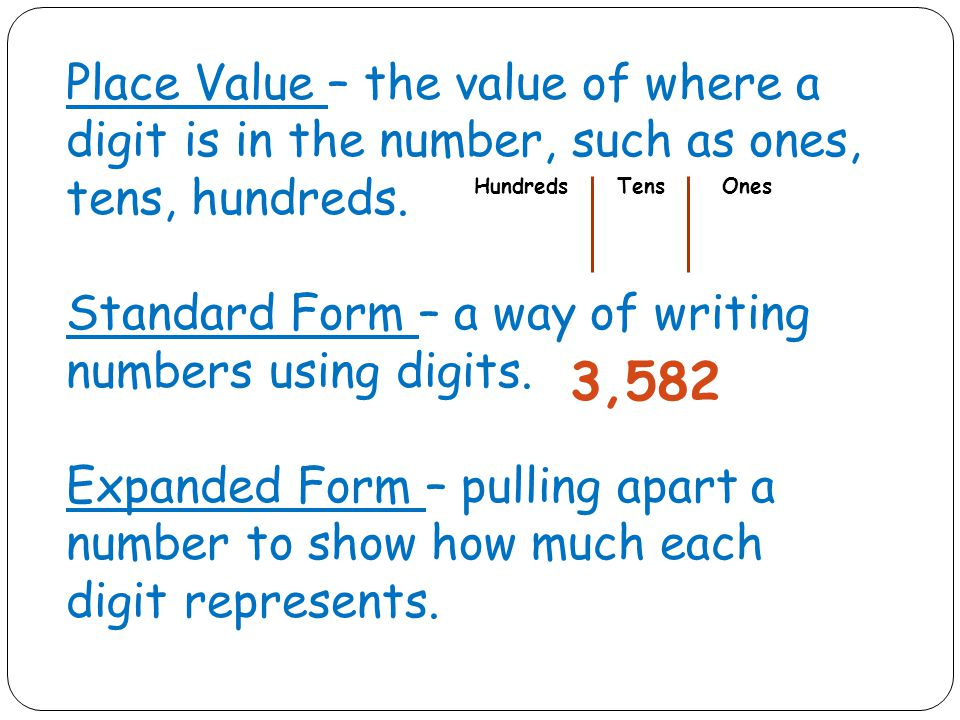 Place Value – the value of where a digit is in the number, such as ones, tens, hundreds.