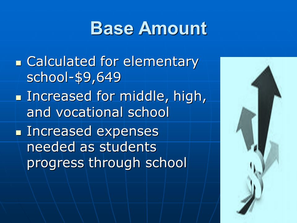 ADEQUACY BUDGET State aid distributed through foundation formula State aid distributed through foundation formula Calculations based on a per-pupil adequacy budget Calculations based on a per-pupil adequacy budget Spending on student to achieve NJ educational standards Spending on student to achieve NJ educational standards