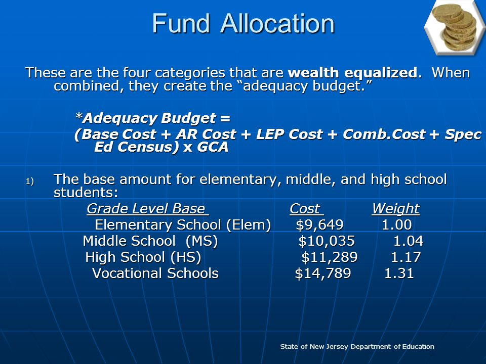Fund Allocation The formula includes two types of aid: wealth- equalized and categorical.