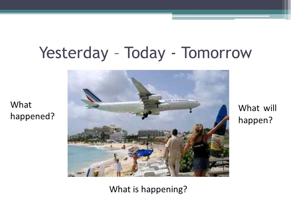 What happened? Yesterday – Today - Tomorrow What is happening? What will happen?