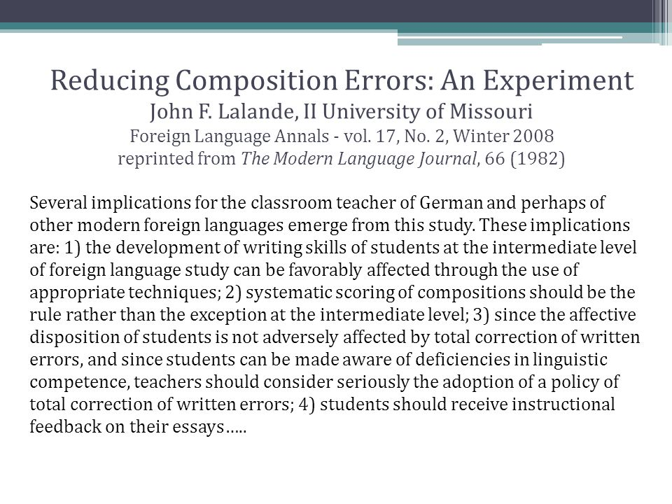 Reducing Composition Errors: An Experiment John F.