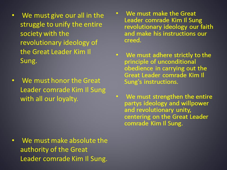 We must give our all in the struggle to unify the entire society with the revolutionary ideology of the Great Leader Kim Il Sung.
