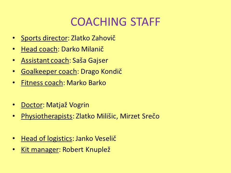 COACHING STAFF Sports director: Zlatko Zahovič Head coach: Darko Milanič Assistant coach: Saša Gajser Goalkeeper coach: Drago Kondič Fitness coach: Marko Barko Doctor: Matjaž Vogrin Physiotherapists: Zlatko Milišic, Mirzet Srečo Head of logistics: Janko Veselič Kit manager: Robert Knuplež
