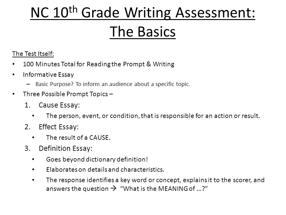 NC 10 th Grade Writing Assessment: The Basics The Test Itself: 100 Minutes Total for Reading the Prompt & Writing Informative Essay – Basic Purpose.