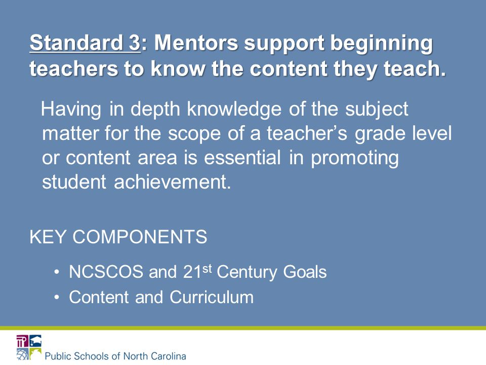Having in depth knowledge of the subject matter for the scope of a teacher's grade level or content area is essential in promoting student achievement.