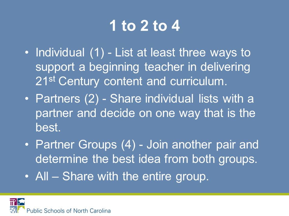 1 to 2 to 4 Individual (1) - List at least three ways to support a beginning teacher in delivering 21 st Century content and curriculum.
