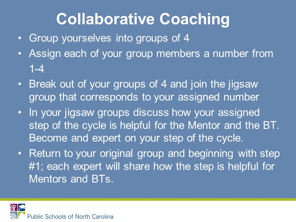 Collaborative Coaching Group yourselves into groups of 4 Assign each of your group members a number from 1-4 Break out of your groups of 4 and join the jigsaw group that corresponds to your assigned number In your jigsaw groups discuss how your assigned step of the cycle is helpful for the Mentor and the BT.