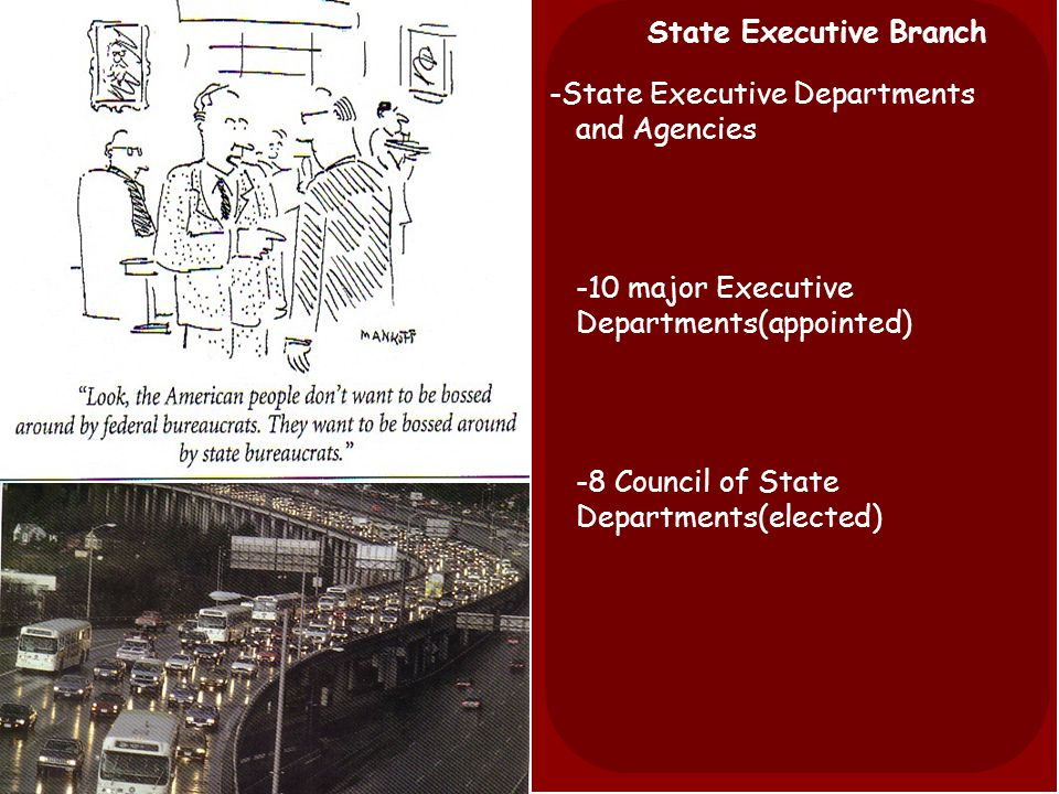State Executive Branch -State Executive Departments and Agencies -10 major Executive Departments(appointed) -8 Council of State Departments(elected)