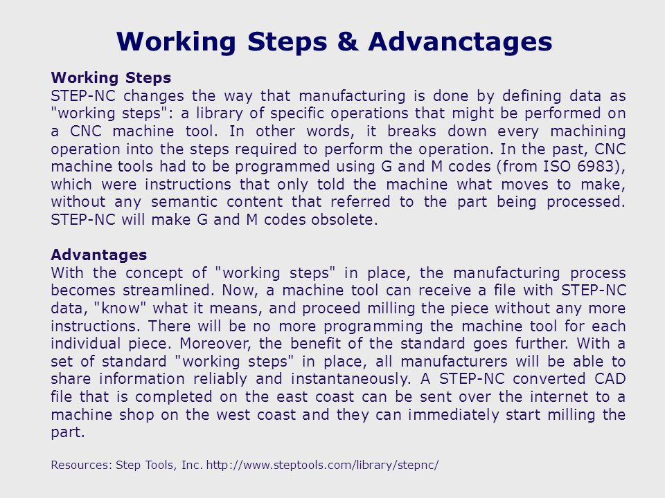 Working Steps & Advanctages Working Steps STEP-NC changes the way that manufacturing is done by defining data as working steps : a library of specific operations that might be performed on a CNC machine tool.