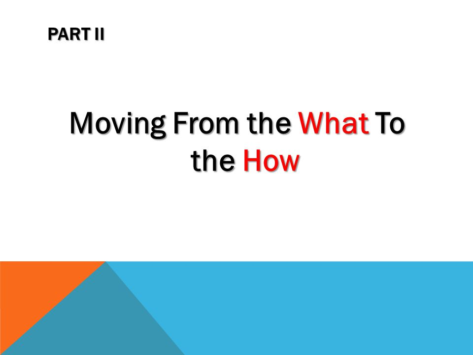 PART II Moving From the What To the How