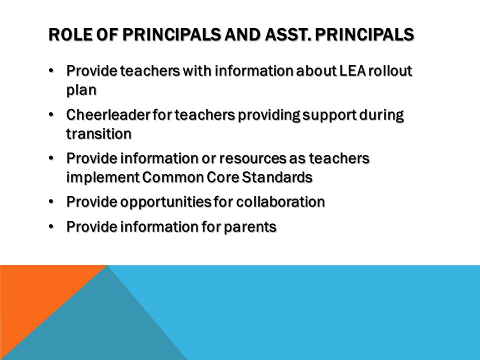 ROLE OF PRINCIPALS AND ASST.